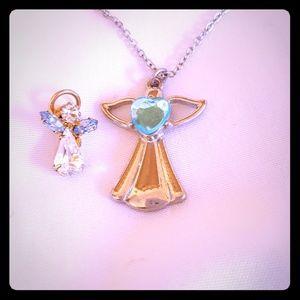 "Jewelry - 16-19"" silver tone Angel necklace & Angel pin EUC"